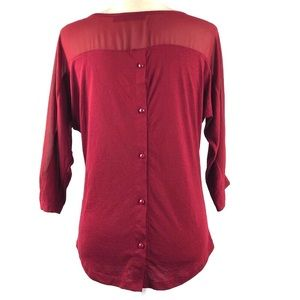The Limited Tops - The Limited Burgundy Chiffon Inset Button Back Top